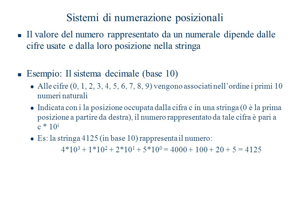 Sistemi di numerazione posizionali