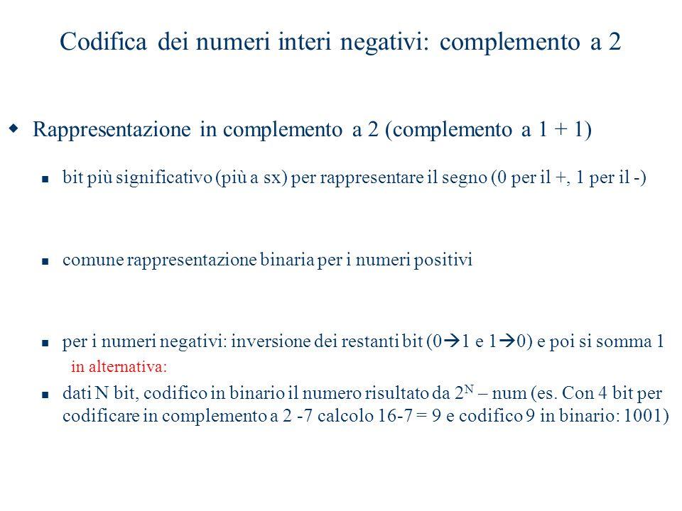 Codifica dei numeri interi negativi: complemento a 2