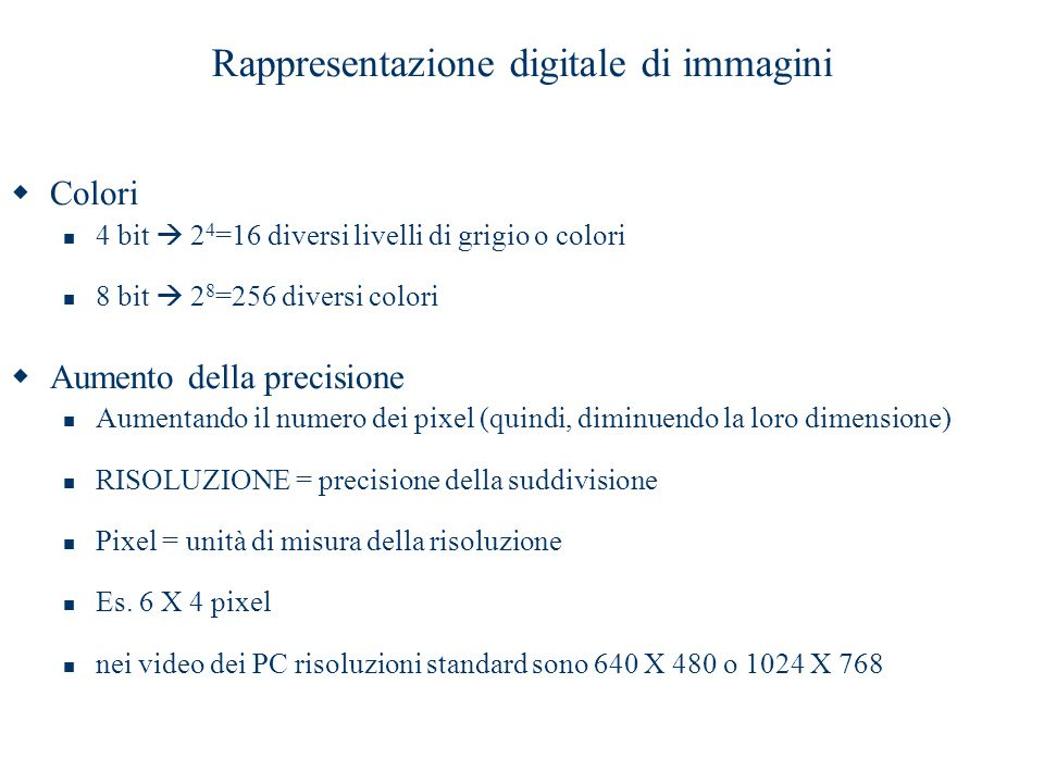 Rappresentazione digitale di immagini