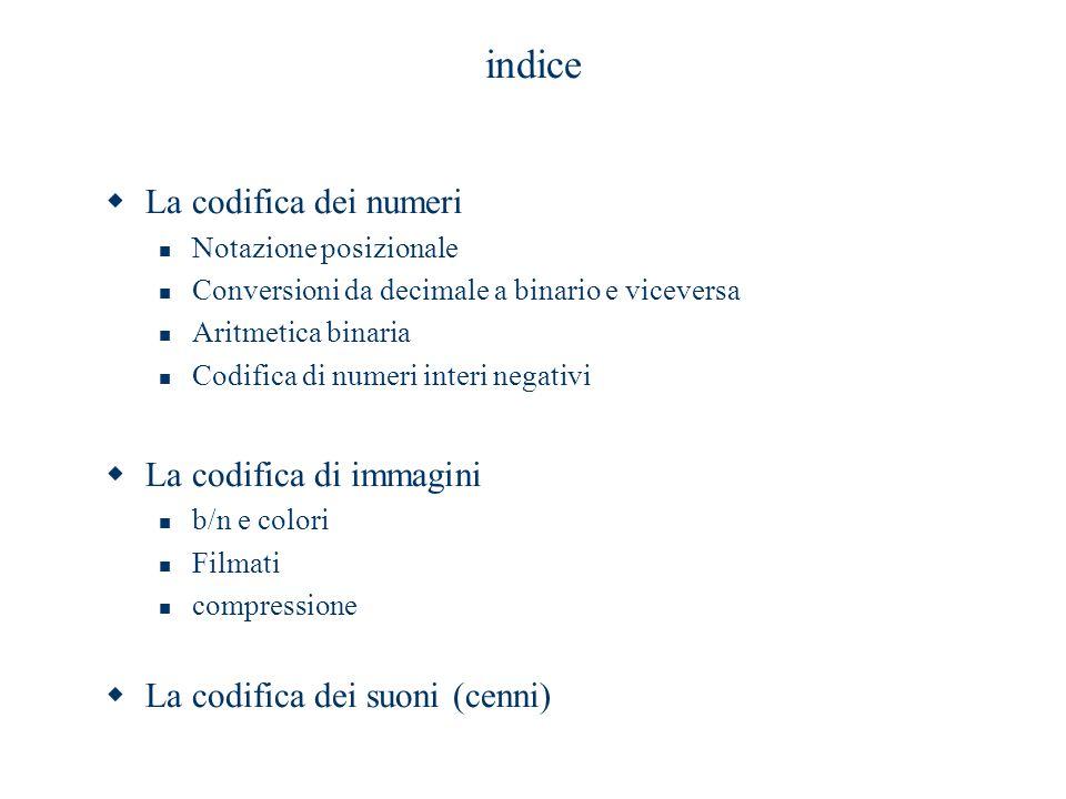indice La codifica dei numeri La codifica di immagini