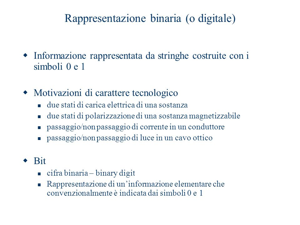 Rappresentazione binaria (o digitale)