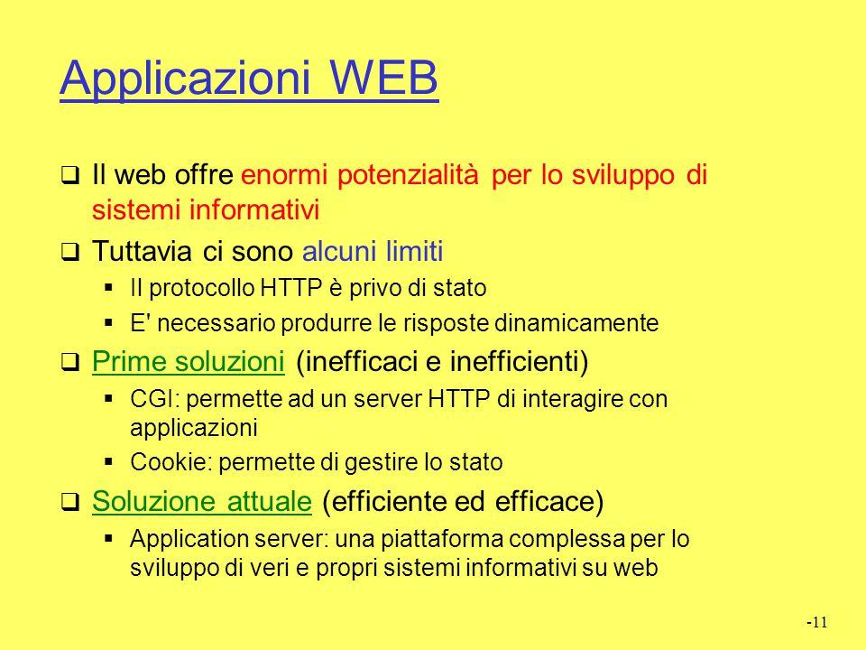 Applicazioni WEB Il web offre enormi potenzialità per lo sviluppo di sistemi informativi. Tuttavia ci sono alcuni limiti.