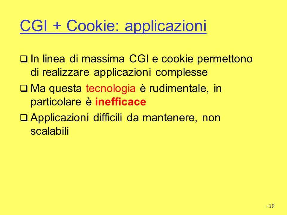 CGI + Cookie: applicazioni