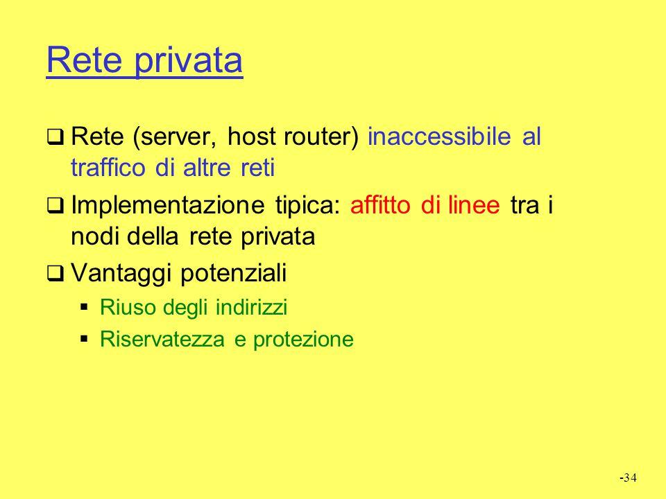 Rete privata Rete (server, host router) inaccessibile al traffico di altre reti.