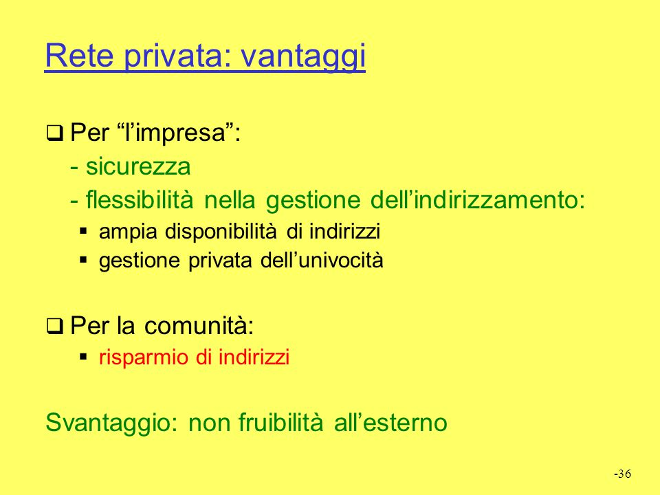 Rete privata: vantaggi