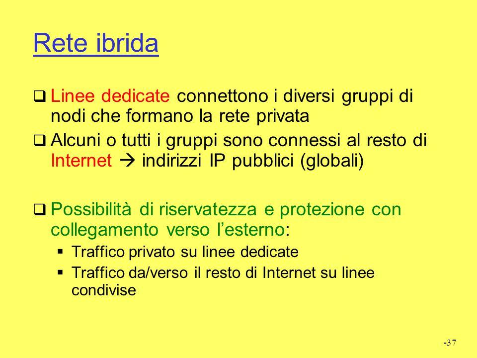 Rete ibrida Linee dedicate connettono i diversi gruppi di nodi che formano la rete privata.