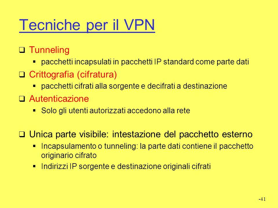 Tecniche per il VPN Tunneling Crittografia (cifratura) Autenticazione