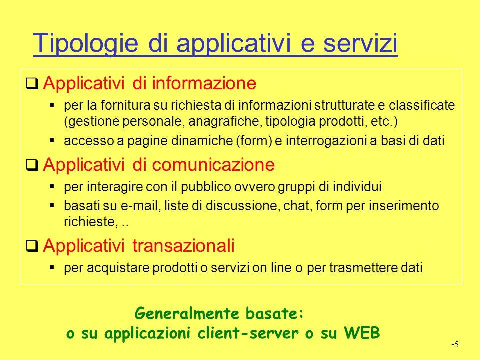 Tipologie di applicativi e servizi
