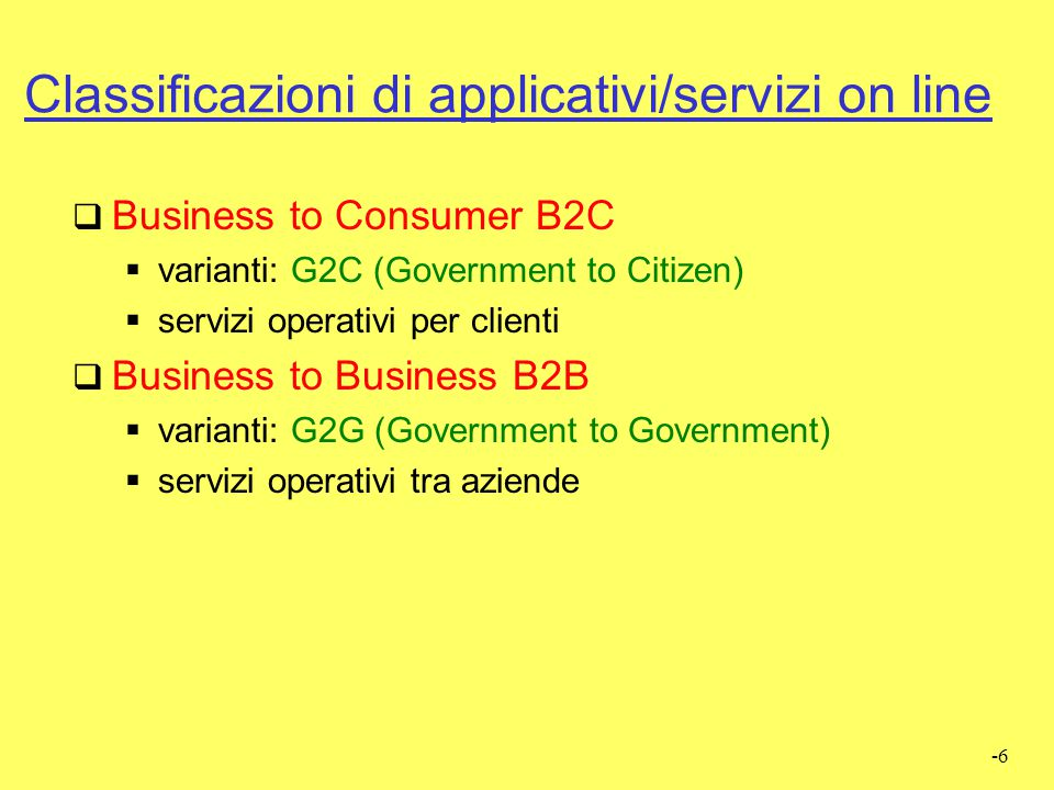 Classificazioni di applicativi/servizi on line