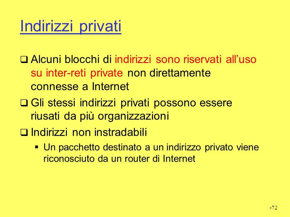 Indirizzi privati Alcuni blocchi di indirizzi sono riservati all'uso su inter-reti private non direttamente connesse a Internet.