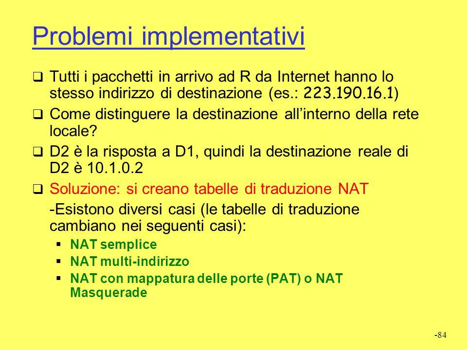 Problemi implementativi