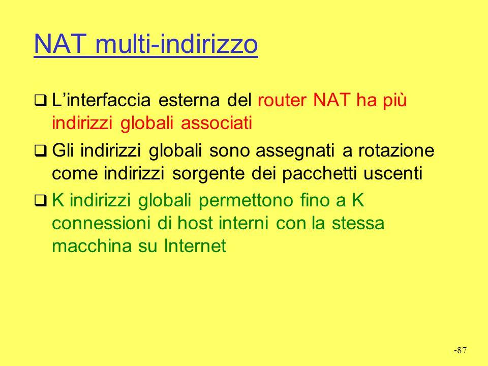 NAT multi-indirizzo L'interfaccia esterna del router NAT ha più indirizzi globali associati.