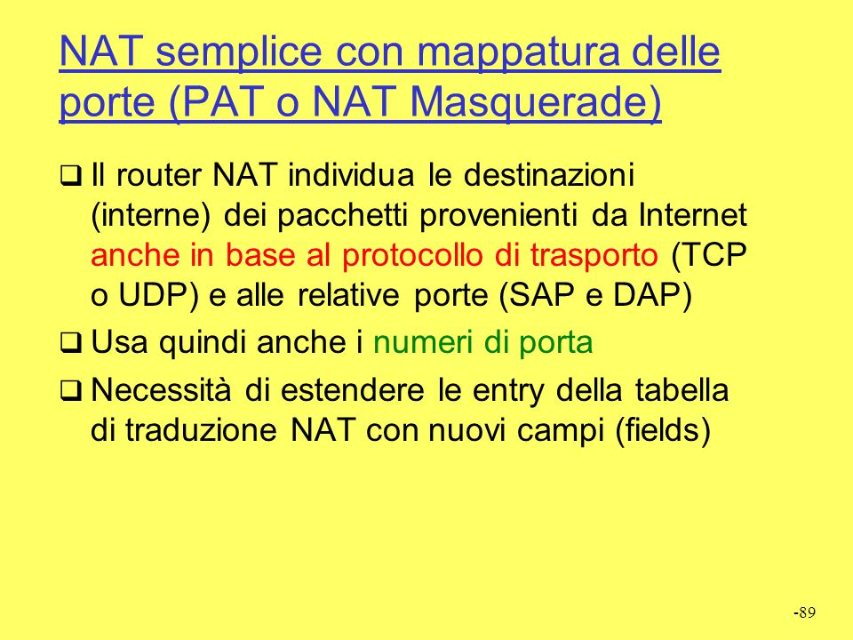 NAT semplice con mappatura delle porte (PAT o NAT Masquerade)