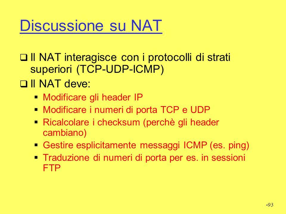 Discussione su NAT Il NAT interagisce con i protocolli di strati superiori (TCP-UDP-ICMP) Il NAT deve: