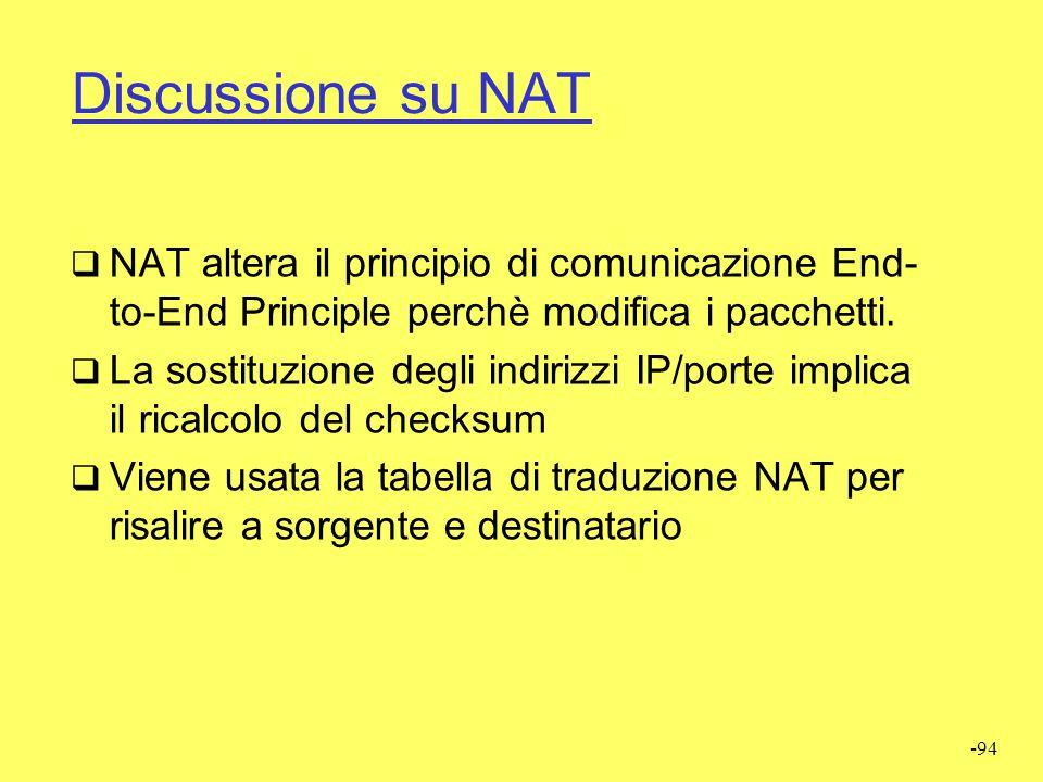 Discussione su NAT NAT altera il principio di comunicazione End-to-End Principle perchè modifica i pacchetti.