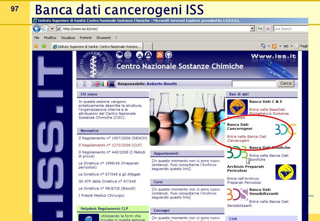 Banca dati cancerogeni ISS