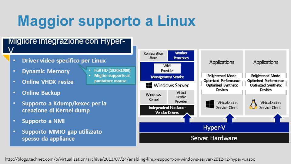 Maggior supporto a Linux