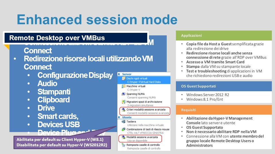 Enhanced session mode Connessione alla VM tramite RDP da VM Connect