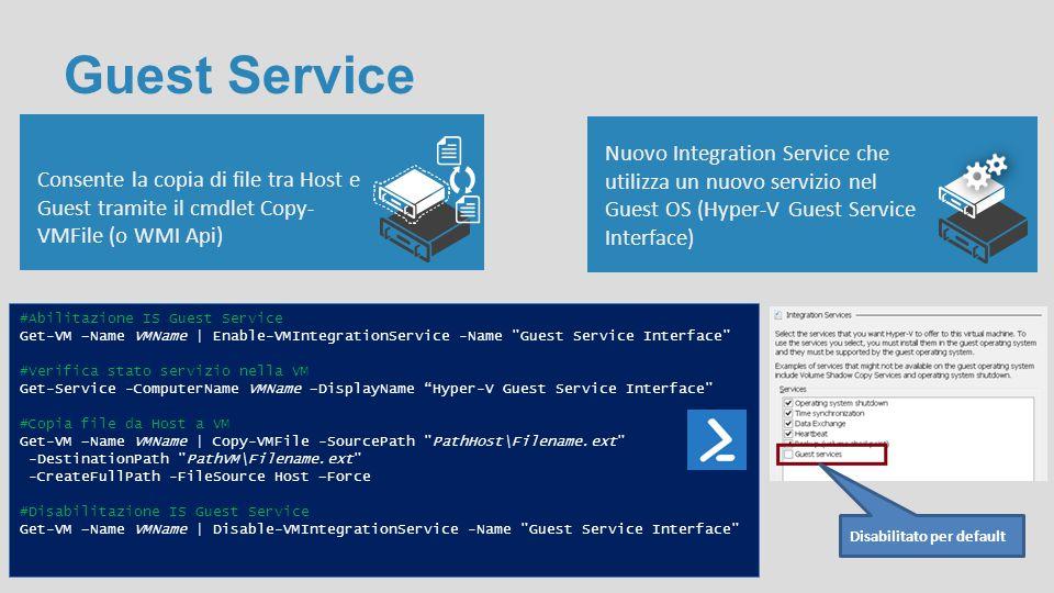 Guest Service Consente la copia di file tra Host e Guest tramite il cmdlet Copy-VMFile (o WMI Api)