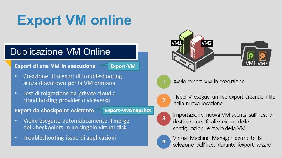 Export VM online Duplicazione VM Online Export di una VM in esecuzione