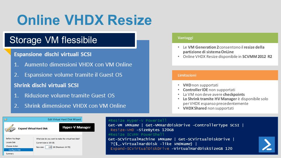 Online VHDX Resize Storage VM flessibile
