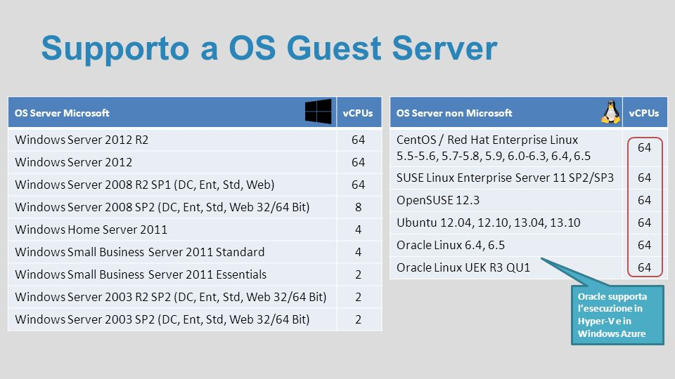 Supporto a OS Guest Server