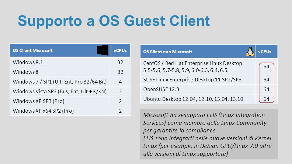Supporto a OS Guest Client