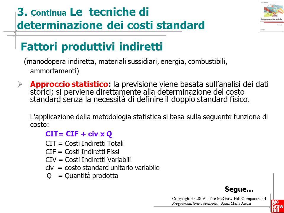 3. Continua Le tecniche di determinazione dei costi standard
