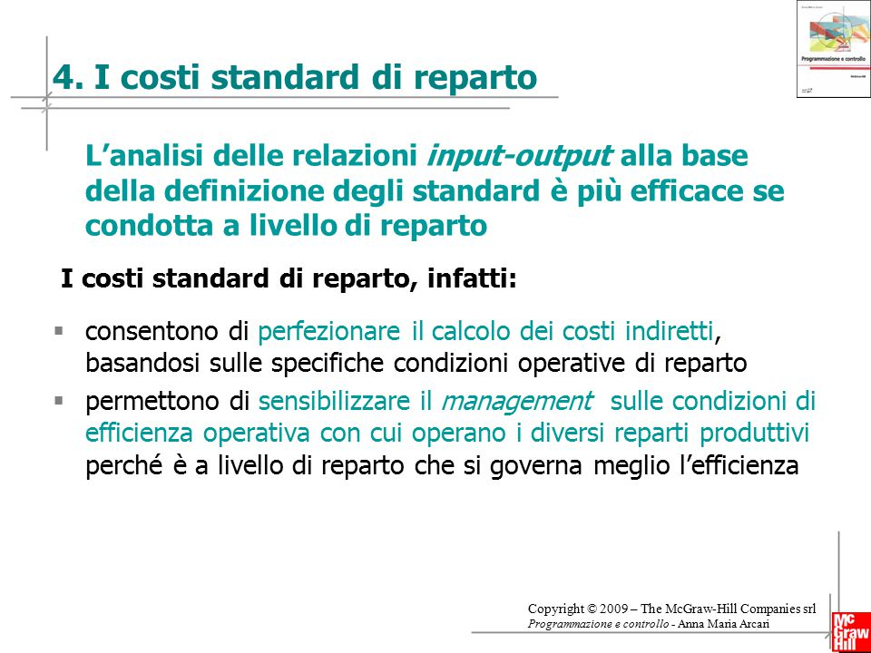 4. I costi standard di reparto