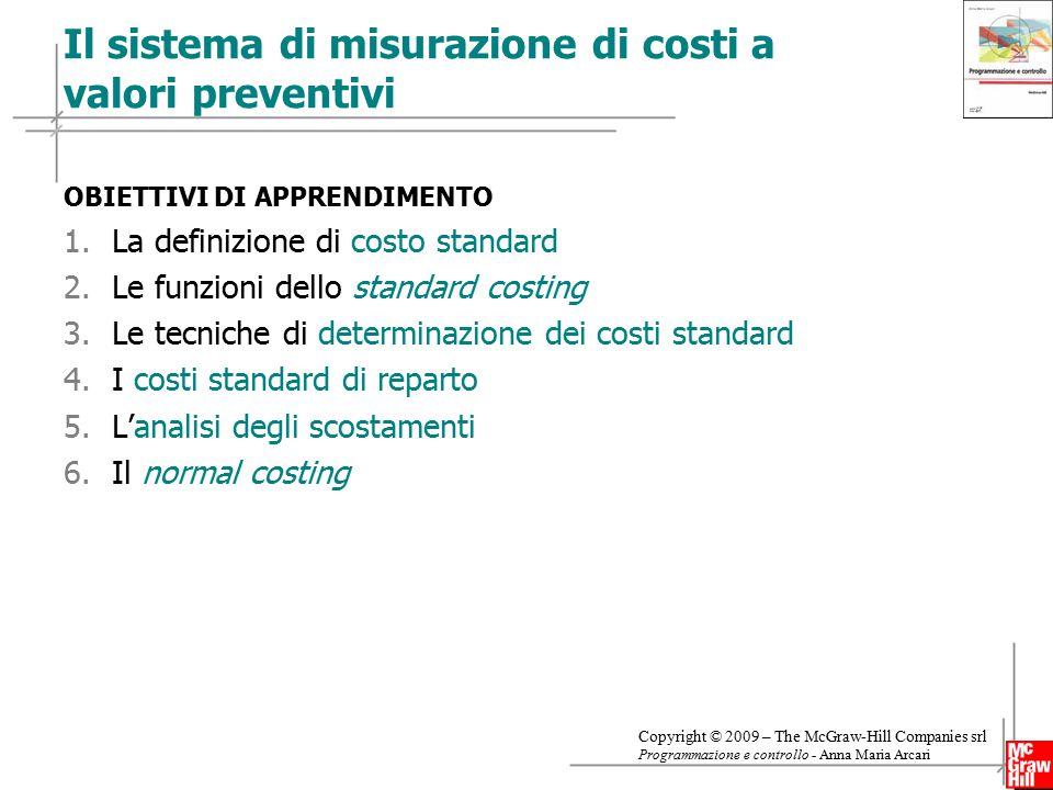 Il sistema di misurazione di costi a valori preventivi