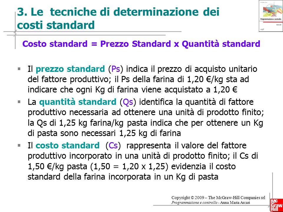 3. Le tecniche di determinazione dei costi standard