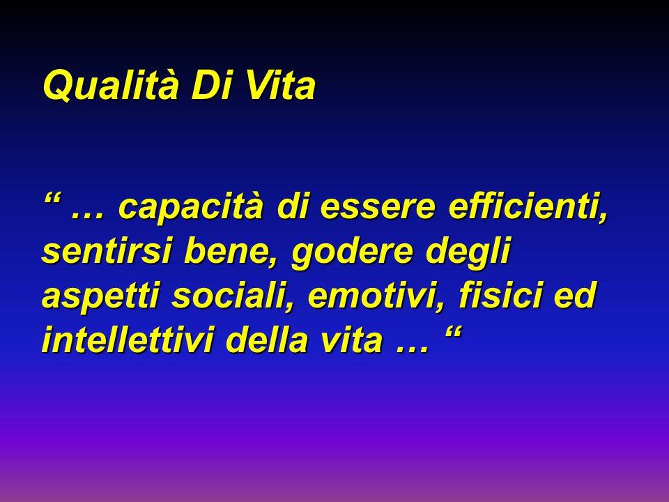 Qualità Di Vita … capacità di essere efficienti, sentirsi bene, godere degli aspetti sociali, emotivi, fisici ed intellettivi della vita …
