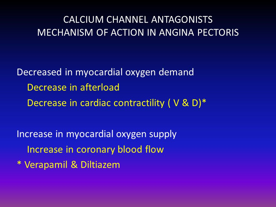 CALCIUM CHANNEL ANTAGONISTS MECHANISM OF ACTION IN ANGINA PECTORIS
