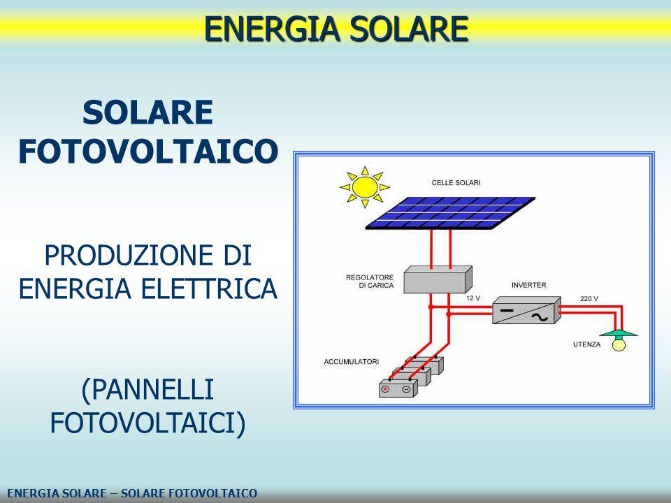ENERGIA SOLARE SOLARE FOTOVOLTAICO PRODUZIONE DI ENERGIA ELETTRICA
