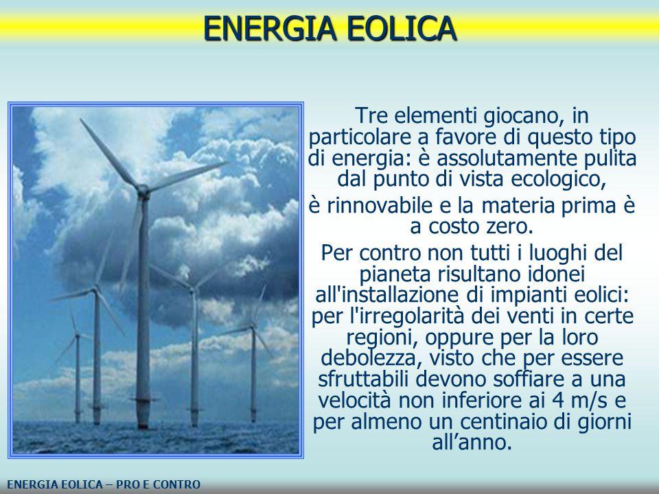 è rinnovabile e la materia prima è a costo zero.