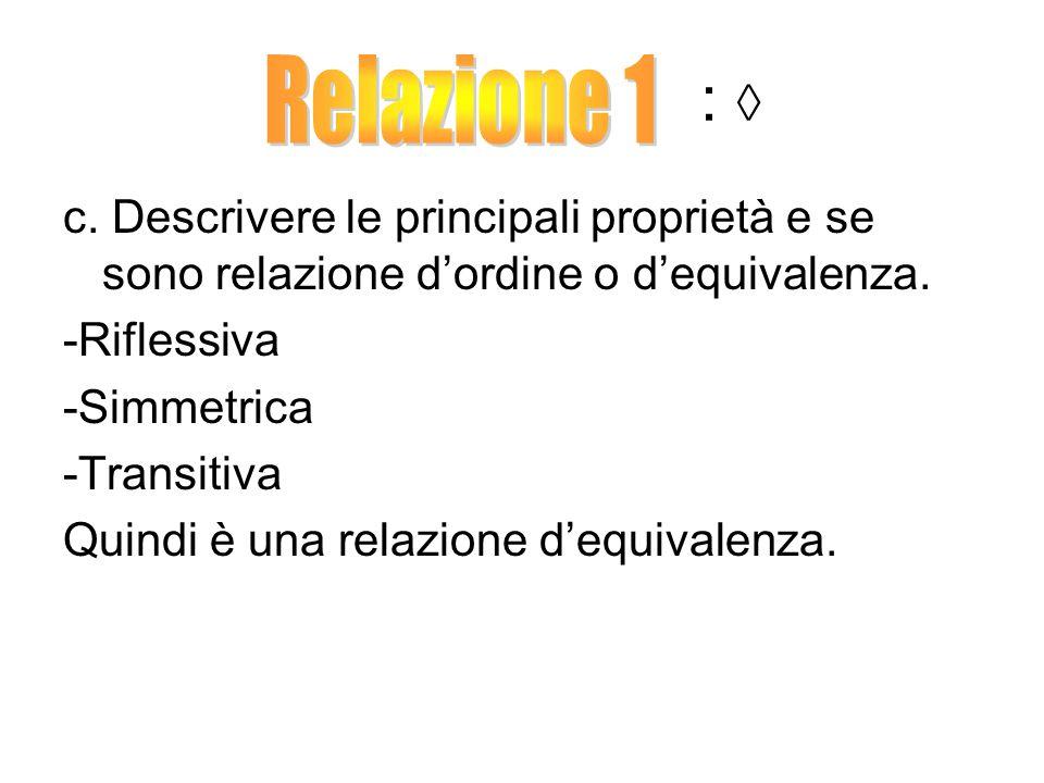 : ◊ Relazione 1. c. Descrivere le principali proprietà e se sono relazione d'ordine o d'equivalenza.