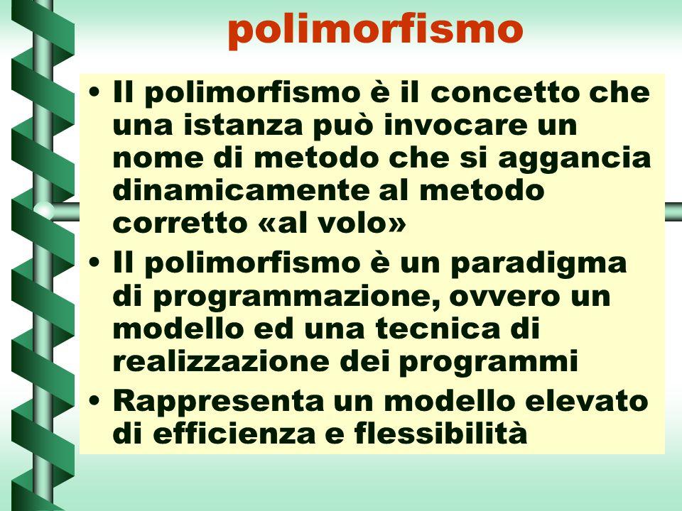polimorfismo Il polimorfismo è il concetto che una istanza può invocare un nome di metodo che si aggancia dinamicamente al metodo corretto «al volo»