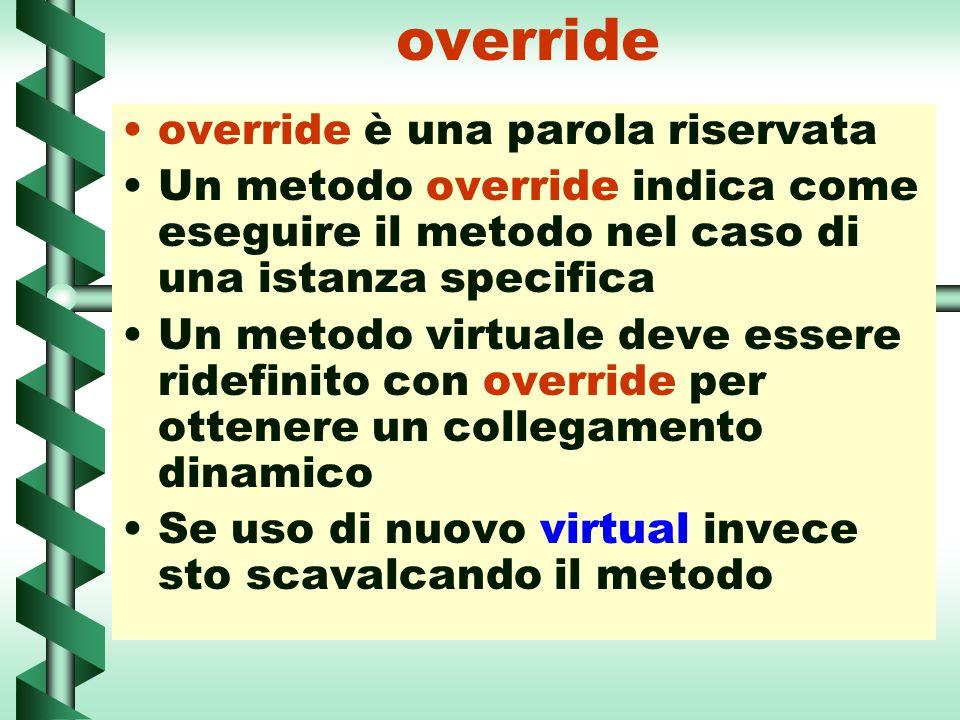 override override è una parola riservata