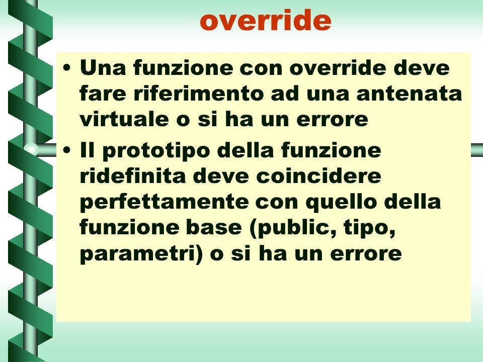 override Una funzione con override deve fare riferimento ad una antenata virtuale o si ha un errore.