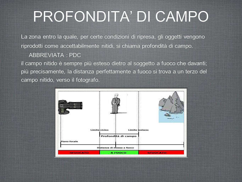 PROFONDITA' DI CAMPO La zona entro la quale, per certe condizioni di ripresa, gli oggetti vengono.