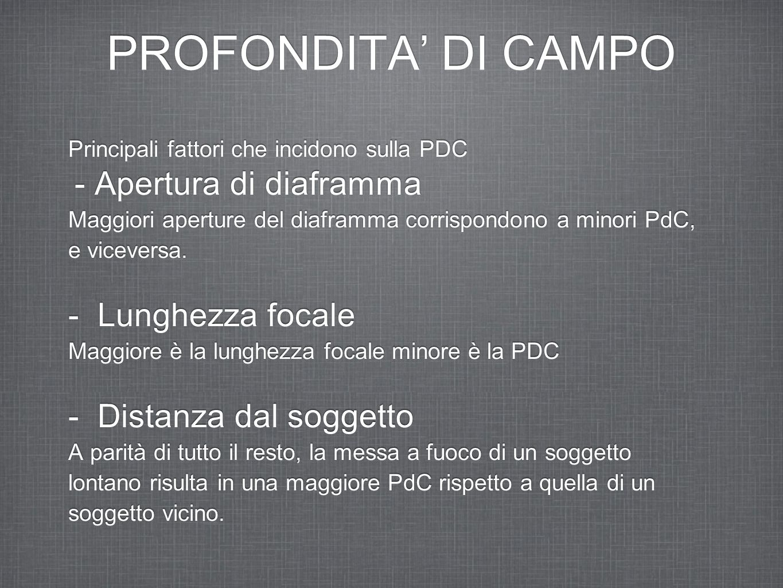 PROFONDITA' DI CAMPO - Lunghezza focale - Distanza dal soggetto