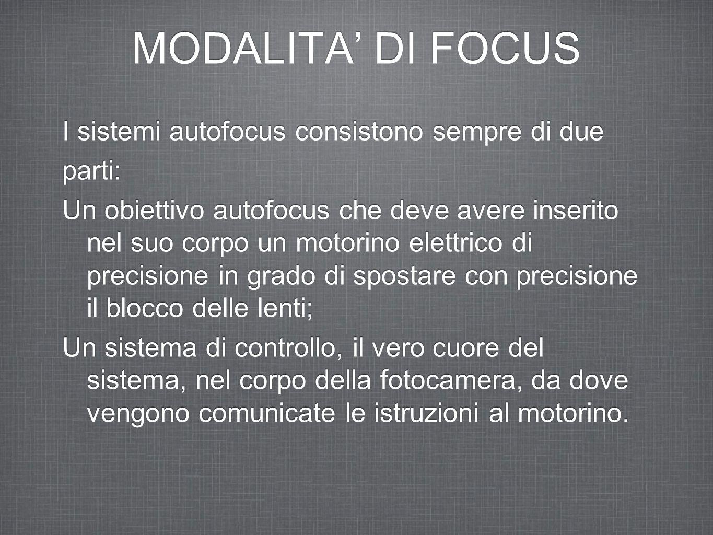 MODALITA' DI FOCUS I sistemi autofocus consistono sempre di due parti: