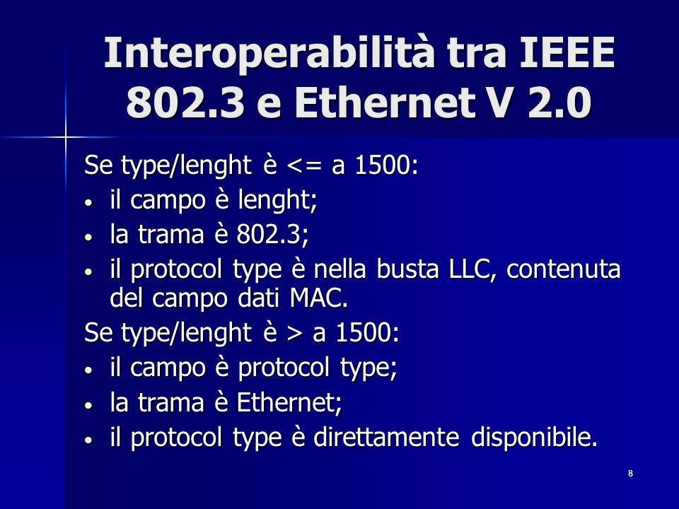 Interoperabilità tra IEEE 802.3 e Ethernet V 2.0