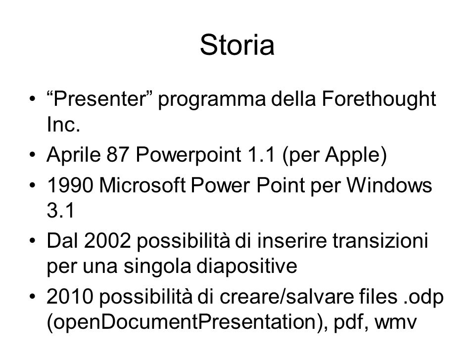 Storia Presenter programma della Forethought Inc.