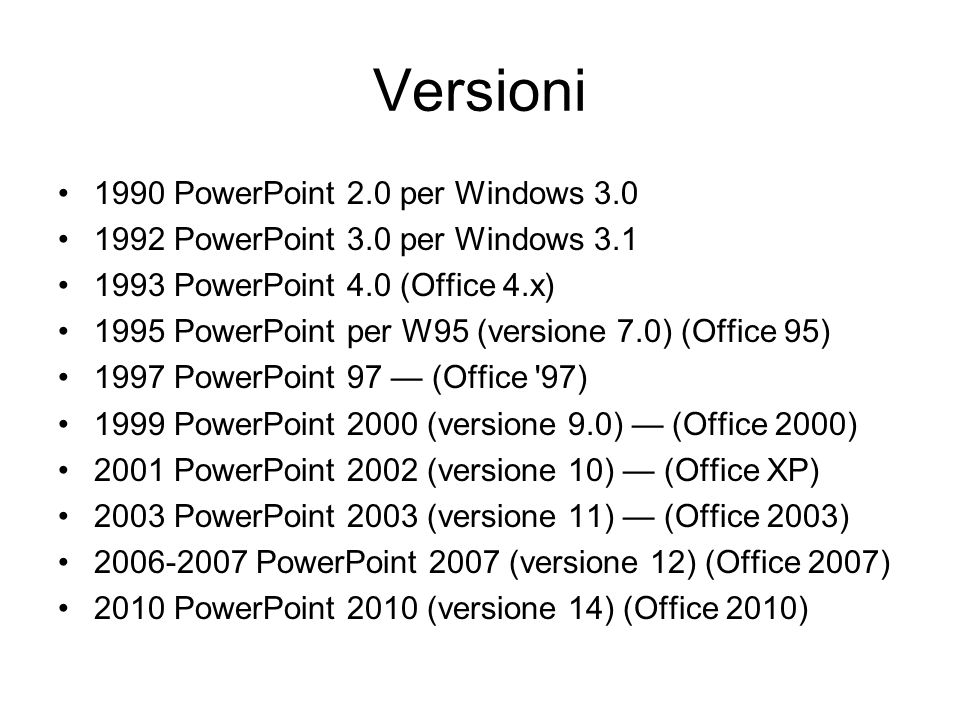 Versioni 1990 PowerPoint 2.0 per Windows 3.0