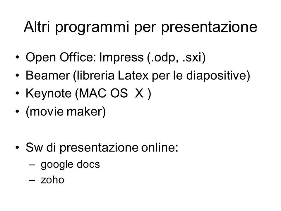 Altri programmi per presentazione