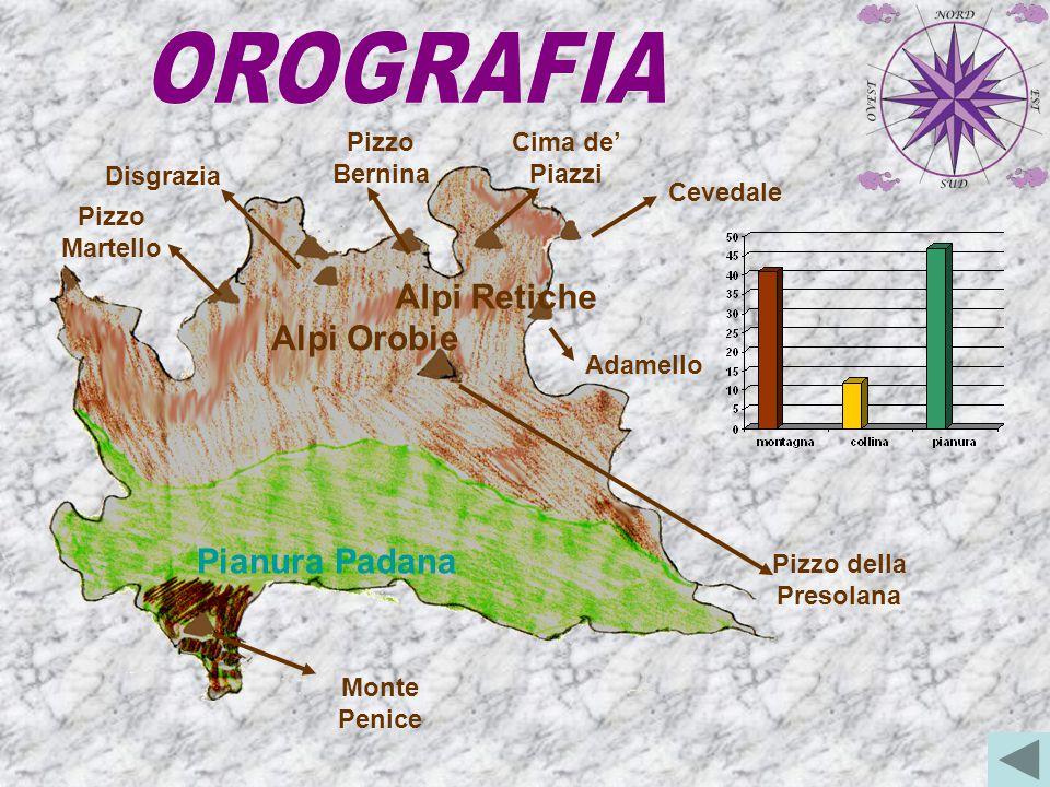 OROGRAFIA Alpi Retiche Alpi Orobie Pianura Padana Pizzo Bernina