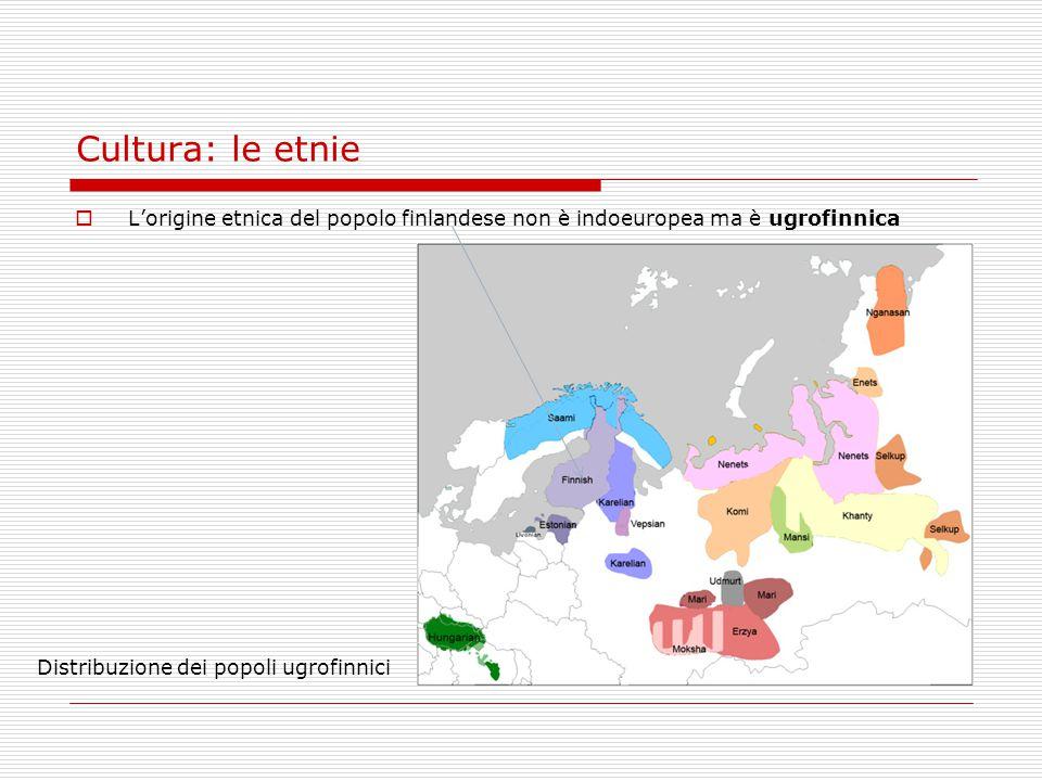 Cultura: le etnie L'origine etnica del popolo finlandese non è indoeuropea ma è ugrofinnica.