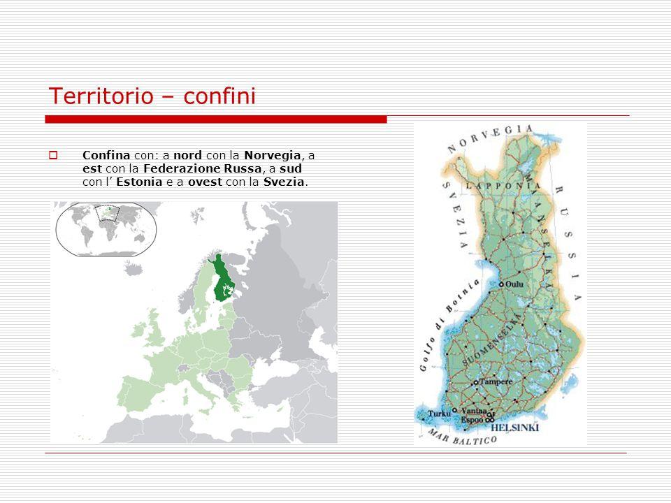 Territorio – confini Confina con: a nord con la Norvegia, a est con la Federazione Russa, a sud con l' Estonia e a ovest con la Svezia.