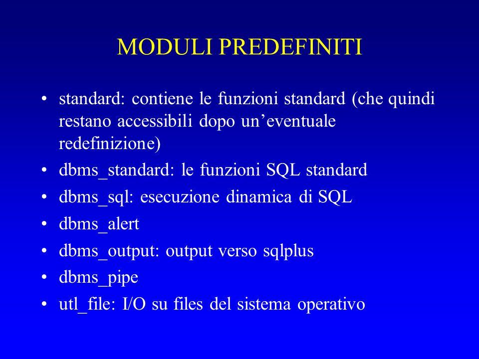 MODULI PREDEFINITI standard: contiene le funzioni standard (che quindi restano accessibili dopo un'eventuale redefinizione)
